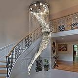 JBP Max Chandelier Light Shades Decke Lampe LED Einfache Duplex-Treppe Gebogen Mond Kristall Langen Kronleuchter Villa Hall Hängende Licht-45,10Lamphead,70 * 240Cm