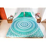 Folkulture Traditional Cotton Bedsheet For Double Bed With 2 Pillow Covers - Queen Size Indian Mandala Print Tapestry Bedspread Bedding Set For Your Bedroom - Intricate Green