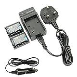 DSTE 2pcs NP-FH50 Replacement Li-ion Battery + Charger DC04U for Sony DSLR-A230, DSLR-A290, DSLR-A330, DSLR-A380, DSLR-A390, DSC-HX1, DSC-HX100V, DSC-HX200V, HDR-TG5V Digital Cameras