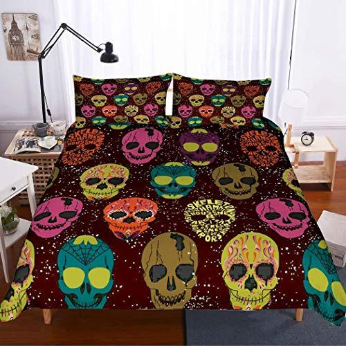 Soefipok Schädel Bettwäsche 3D lila/gelb/orange/blau/rosa Schädel Tagesdecke gedruckt Burgund Bettbezug-Set für Erwachsene und Jugendliche, 3 Stück mit 2 Pillow Sham