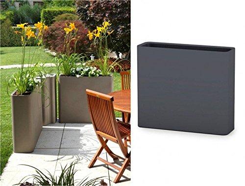 XXL Pflanztopf DIVIO Sichtschutz Terrasseneinzäunung, Doppelwandig für Indoor und Outdoor, B 90 x T 27 x H 77 cm, Farbe Anthrazit