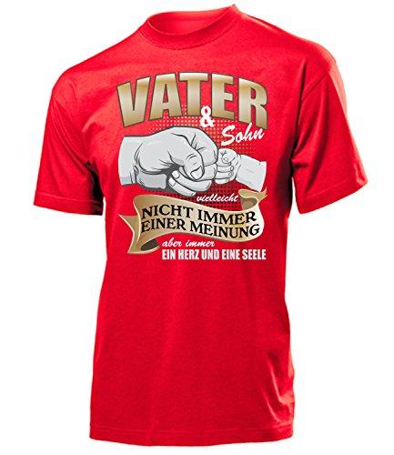 Vater und Sohn vielleicht Nicht Immer Einer Meinung Aber Immer EIN Herz und eine Seele 5367 Herren Fun-T-Shirts Rot M