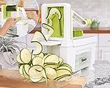 Spiralschneider für Gemüse Twinzee - mit 4 auswechselbaren Klingen - Innovatives Design für eine optimierte Aufbewahrung - Der beste Spiralschneider, um aus Früchten und Gemüse Spaghetti, Spiralen sowie Band- und Fadennudeln zu machen Bild 4