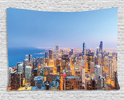 Chicago Skyline Stickset von ambesonne, Antennenkabel View of Town mit Michigan See Vibrant Stadt Panorama Abend zum Aufhängen, für Schlafzimmer Wohnzimmer Wohnheim, multicolor, Textil, Multi 1, 60