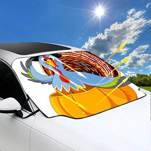 Auto-UVsonnenschutz-Erntedank-Truthahn-Pilger-Hut-Kürbis-Sonnenschutz für Kinder 57.9x46.5 Zoll (147cmx118cm) für die meisten Fahrzeuge, indem Sie die Windschutzscheibe und den Wischer vor Sonne, Eis -