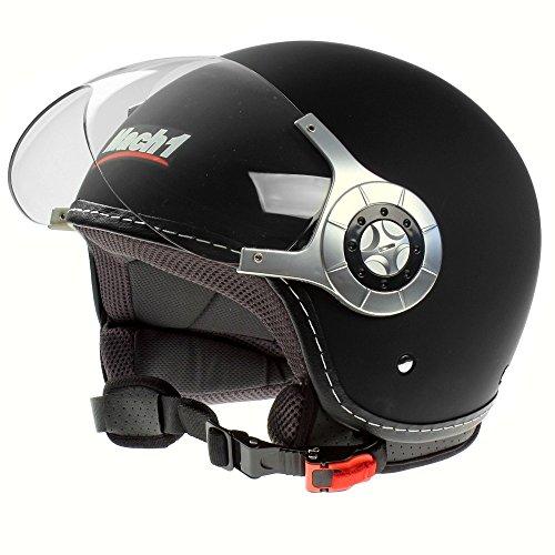 Mach1® Jethelm Motorradhelm ECE R 22.05 schwarz Roller Scooter Helm Größe XS bis XXL mit durchsichtigem Visier