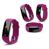 Aquarius aq125Touch Bildschirm Fitness Activity Tracker Herzfrequenz Monitor GPS WASSERDICHT mit Farben Bildschirm eingehende Call Display Fernbedienung Kamera Kontrolle und automatischer Schlaf Tracking Modus HRM in gewählter Farbe, violett