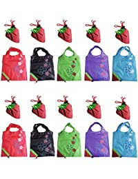 LIFECART 5pcs Assorted Colors Strawberry Foldable ECO Bags Reusable Shopping Tote Bags