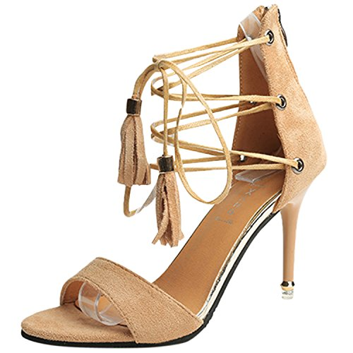 Oasap Women's Open Toe Stiletto Heels Ankle Lace up Sandals with Tassel Apricot