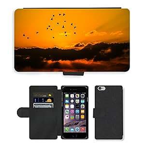 """Bunt Leder Tasche PU Flip Case für // M00145654 Sky Birds Wolken Orange Natur anzeigen // Apple iPhone 6 4.7"""""""