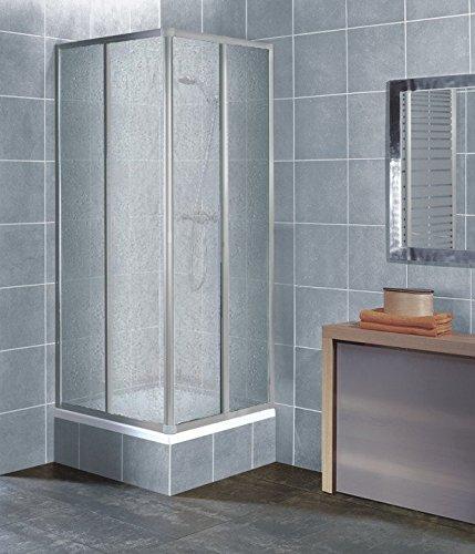duschwanne 75x80 Eckeinstieg Duschkabine Kunststoffglas Tropfendekor Silberne Profile 75x75 75x80 75x90 90x75 80x75