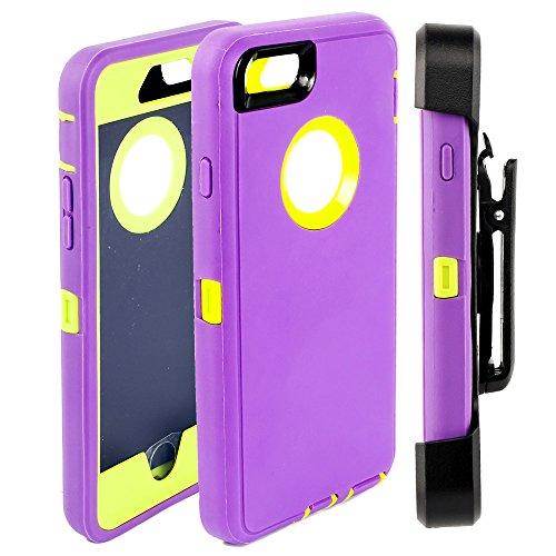 iPhone 6S Schutzhülle, fogeek 4in 1Combo PC + TPU Heavy Duty Holster Kickstand Cover mit Bildschirm schützen und 360degreen Swivel Gürtelclip Schutzhülle für iPhone 6S/6-, plastik, blau / violett, Green/Purple
