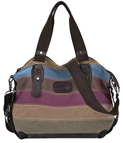Coofit Borse Donna Tela Multi-Colore spalla Borsa due Cinghie