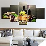 wyfiytong Toile Photos HD Prints Cuisine Décor 5 Pièces Bouteille De Vin De Raisin GS Fruit Et Coupe Affiche Restaurant Mur Art Cadre-30x40cmx230x60cmx230x80cmx1