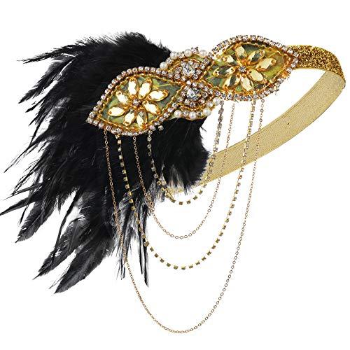 Flapper Kostüm Gold - ArtiDeco 1920s Stirnband Damen Gatsby Kostüm Accessoires 20er Jahre Flapper Feder Haarband