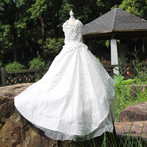 Dunkle Braut Kostüm - WHZWH Haustier Hochzeitskleid, Hund Braut Kostüm weißen Fransen dunklen Linien, extra Langen Schwanz Super glänzend Mehrschichtige Flauschigen Rock,L