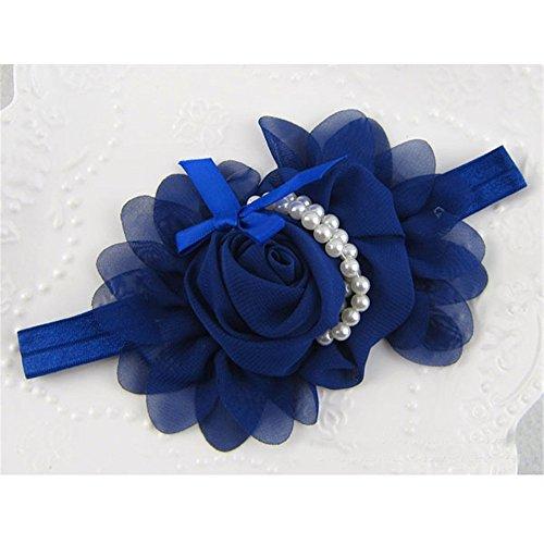iffon Perle Stirnband Blume Haarband Haarschleife Blau ()