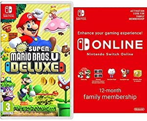 New Super Mario Bros. U Deluxe [Nintendo Switch] + Switch Online 12 Months Family [Download Code]
