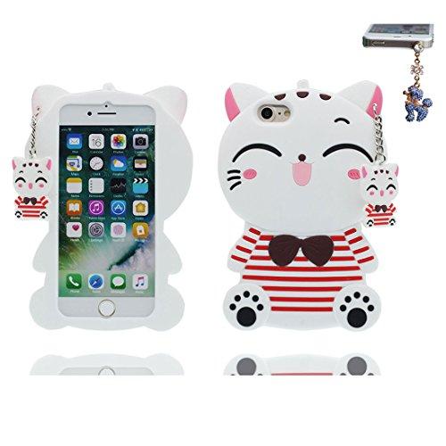"""iPhone 6 Plus Coque, 3D Cartoon chat Stripe blanc Cover iPhone 6s Plus étui (5.5 pouces) TPU souple Shell iPhone 6 Plus Case (5.5"""") poussière glissement résistant aux rayures & Bouchon anti-poussière blanc"""
