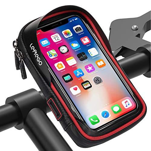 LEMEGO Borsa Bici Cellulare Bicicletta Manubrio Impermeabile Ciclismo Telaio Supporto da Porta Smartphone Compatibile per iPhone X 8 7 6 Plus Samsung Galaxy S8 S7 Edge Fino a 6 Pollici (Rosso)