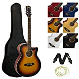 Tiger ACG3 Full Size Acoustic Beginners Guitar Package with Gig Bag, Strap