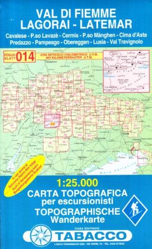 Val di Fiemme, Lagorai, Latemar Carta Topografica per escursionisti 1:25.000, 014GPS