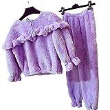 Neckip verdickte koreanische Art Plüsch-Pyjamas Set warme weiche Plüsch-Top-Hose Home Set Pyjamas für Damen