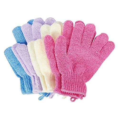 Juvale 4-pair-Peeling-Handschuhe, Handschuhe, als-Peeling mit Scrubber Luffa, verschiedene Farben, für Damen und Herren