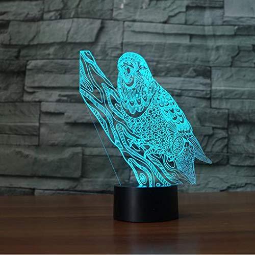 Parrot 3D LED Illusion Night Light 7 Cambio de color Usb Escritorio...