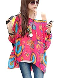 555da908787 OUKIN Women Bohemian Floral Batwing Sleeve Plus Sheer Chiffon Oversize  Loose Off Shoulder Blouse Tunic Tops