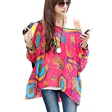 Womens Bohemian Floral Batwing Sleeve Plus Chiffon Oversize Loose Off Shoulder Blouse Tops