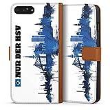 DeinDesign Tasche kompatibel mit Apple iPhone 7 Plus Leder Flip Case Ledertasche HSV Hamburger SV Fanartikel Merchandise