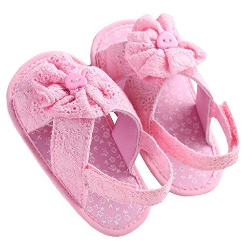 WAYLONGPLUS Baby Mädchen Prewalker Sommer Baumwolle weiche Sohle rutschfeste Babyschuhe Pink