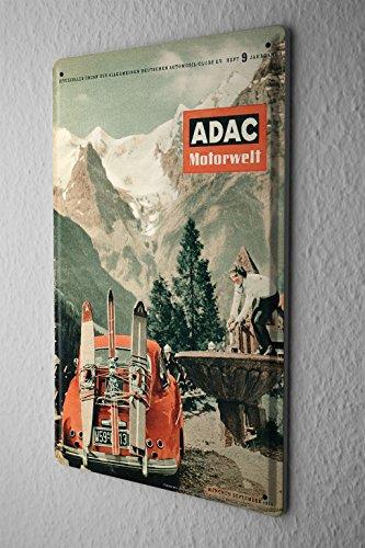 LEotiE SINCE 2004 Blechschild Nostalgie Werbeplakat ADAC Motorwelt Zeitschrift 1956 Ski Berge Oldtimer 20x30 cm