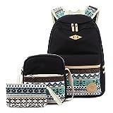 Donykarry 3 Teiliges Schultaschen-Set Mädchen Damen Canvas Schulrucksack