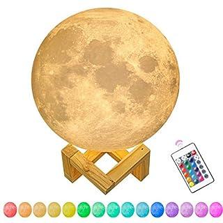 AHATECH Moonlight Nachtlicht 3D Nachttischlampe Lampe 16 Farbe LED Mit Fernbedienung Mondlicht Lampe10/15/20cm Massivholz Halterung Kreative Mond Lampe (20cm)