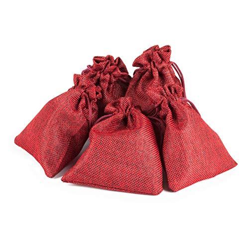pajoma Adventskalender Jute Beutel Rot. 10 x 13 cm Säcke zum Befüllen 24 Stück - Weihnachten