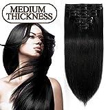 S-noilite 25-55CM Extensions de Cheveux Humains Naturels à Clips 8 Pièces - 100% Remy Hair (25cm-70g,#01 Noir)
