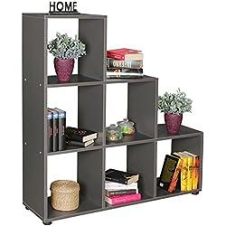 WOHNLING etapas plataforma LUNA madera 6 compartimentos gris de pie estanterías 104,5 x 111 x 29 cm | Diseñar un separador de ambientes para las carpetas y libros | Pequeño estante escaleras