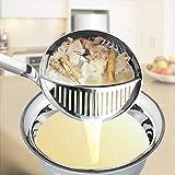 JIAMENG - Espumadera de sopa 2 en 1 - colador de malla fina de mango largo de acero inoxidable para esquís de grasa y utensilios de espuma de 12.6 pulgadas