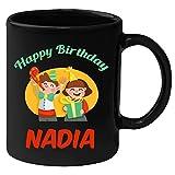 Huppme Happy Birthday Nadia Black Ceramic Mug (350 ml)
