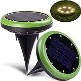 Solarlampen für Außen,SUNSEATON Solar Rasen Licht mit Lichtsensor,LED Beleuchtung Kabellos Wasserdicht Gartenbeleuchtung Solar Powered,Taschenlampe für Außenleuchte Gartenleuchte-Grün (2 Stück)
