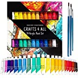 Acrylic paint Set 24 Colours by Crafts 4 ALL Perfect For Canvas, Wood, Ceramic, Fabric. Non toxic & Vibrant Colors. Rich Pigm