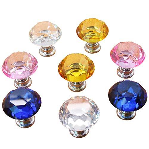 Limeo Kristall Moebelgriffe Diamant Kristallglas Möbelknauf Diamant Kristall diamant kristall für Schlafzimmer Möbel, Bedside Cabinet, Dresser(Transparent * 2 rosa * 2 gelb * 2 blau * 2 Insgesamt 8) (Diamant-dresser)