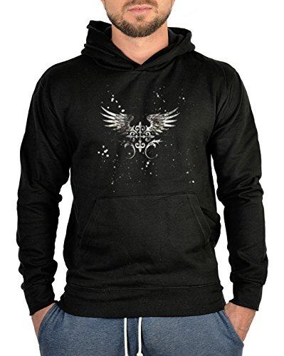 Kapuzen-Sweatshirt Hoodie Biker Aufdruck: Gothic Flügel - mystisches Gothic Motiv