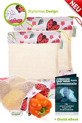 EINFÜHRUNGSANGEBOT   Obstnetz Wiederverwendbar + E-BOOK im 3er Set   Premium Obst- und Gemüsebeutel mit einzigartiger Gestaltung   100% GOTS zertifizierte Bio-Baumwolle