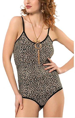 Schöne Damen Body mit Leoparden Design Braun und Schwarz
