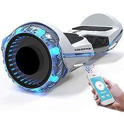 COLORWAY Hoverboard SUV 8.5 Pouces,Gyropode Tout-Terrain avec Roues LED Flash, Haut-parleur Bluetooth, APP et LED, Scooter Électrique Auto-équilibrage + Hoverkart