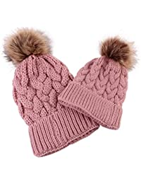 c7e84fc71eb3fa Sukisuki 2pcs/Set Mother & Kid Winter Warm Solid Color Beanie Hat Matching  Knitted Cap