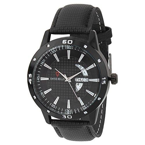 Svviss Bells Original Black Dial Black Genuine Leather Strap Day and Date Chronograph Men\'s Wrist Watch - TA-964